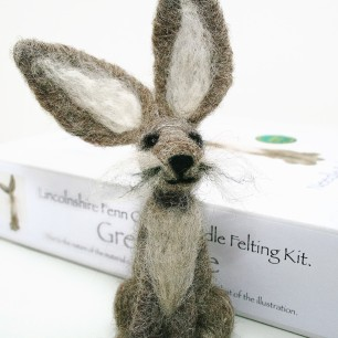 Grey hare needle felting kit
